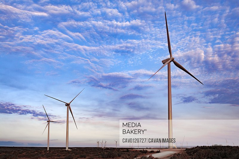 Wind Farm in Ft. Davis, Texas with colorful sky