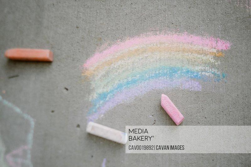 rainbow chalk on side walk