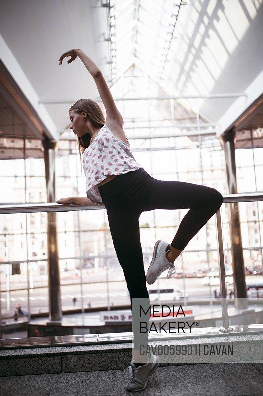 Ballerina dancing at the station