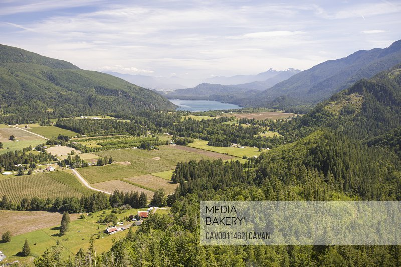 Aerial view of Columbia Valley, Cultus Lake, British Columbia, Canada