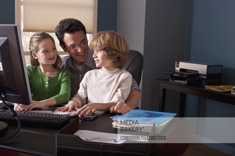 parent with children at work