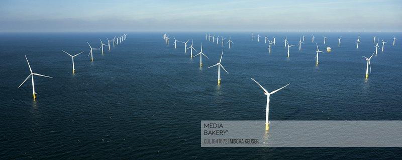 Offshore windfarm, north of Island of Ameland, Friesland, Netherlands