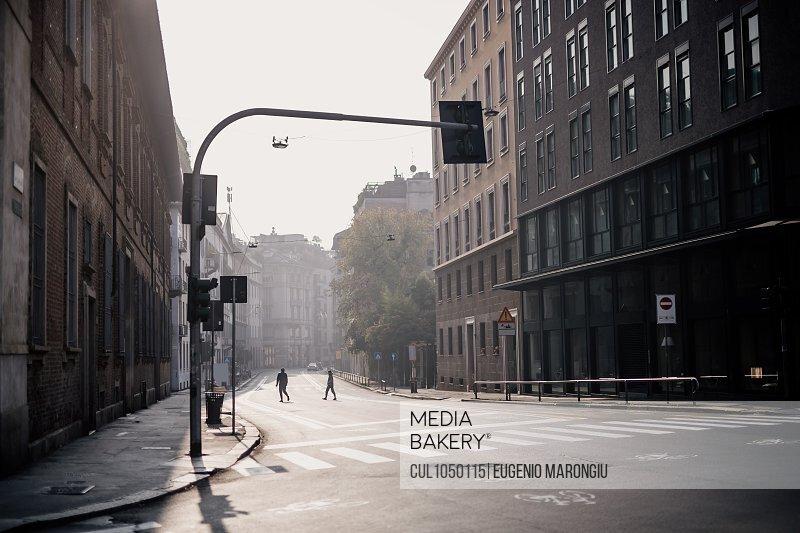 Quiet city street during 2020 Covid-19 Lockdown, Milan, Italy