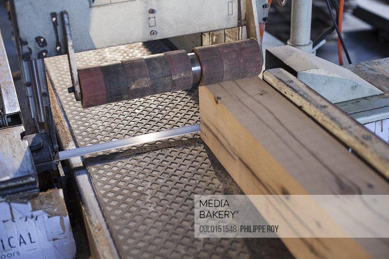 Wood block on conveyor in factory Jiangsu China