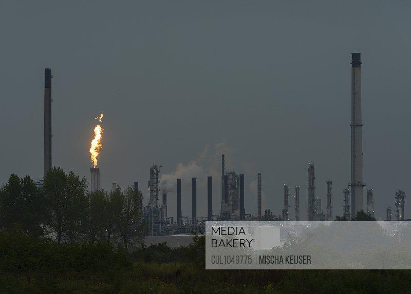 Flaring in a petrochemical refinery, Moerdijk, Noord-Brabant, The Netherlands
