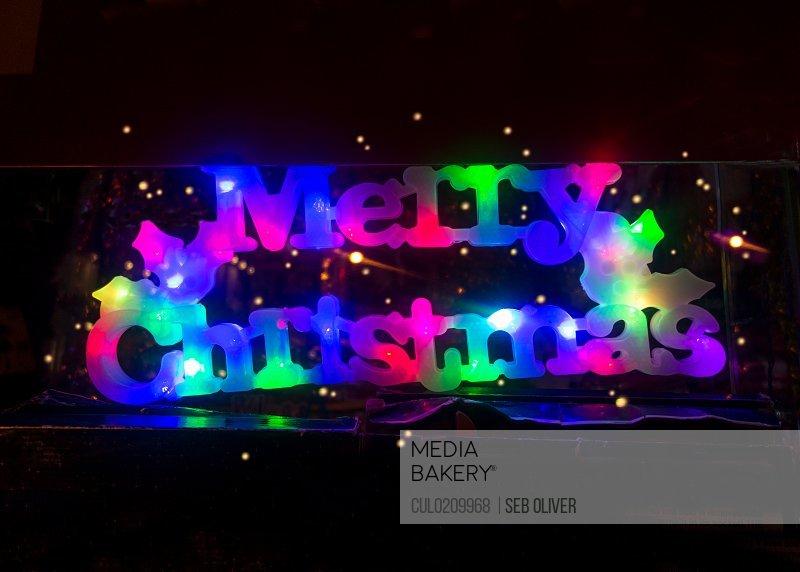 Illuminated merry christmas sign