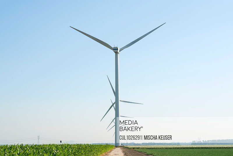 Wind turbines in wind farm in summer, Biddinghuizen, Flevoland, Netherlands
