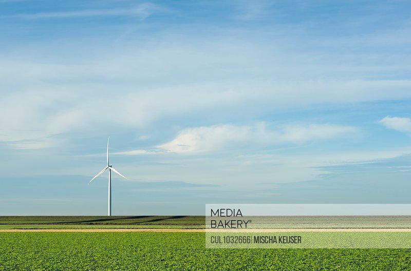 Modern wind turbines on and offshore, Creil, Flevoland, Netherlands