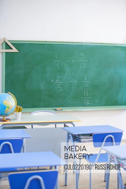Empty classroom maths problem on blackboard