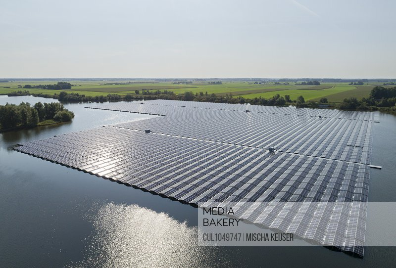 A floating solarfarm that has just been completed, Nij Beets, Friesland, The Netherlands