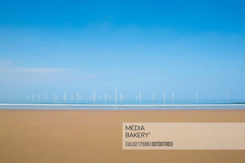 Teeside windfarm off Redcar beach North Yorkshire