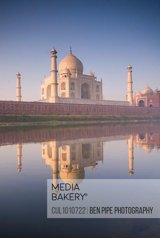 Taj Mahal reflected in still pool