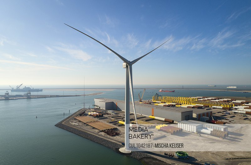 View of the larges wind turbine in the world in Rotterdam harbour, The Netherlands.