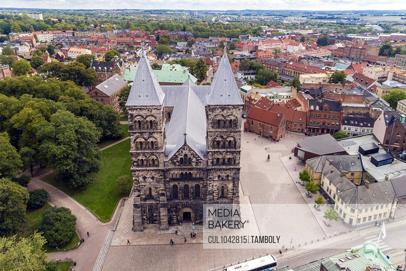 Aerial image of Lund Cathedral with the town centre in the background.