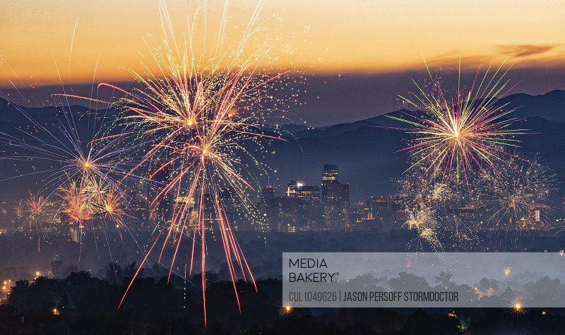 Independence Day fireworks over the City of Denver, Colorado