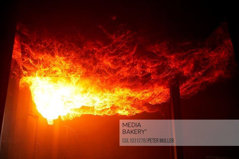 Fire raging inside building