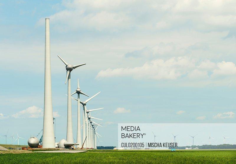 Wind turbines on wind farm Espel Flevopolder Netherlands