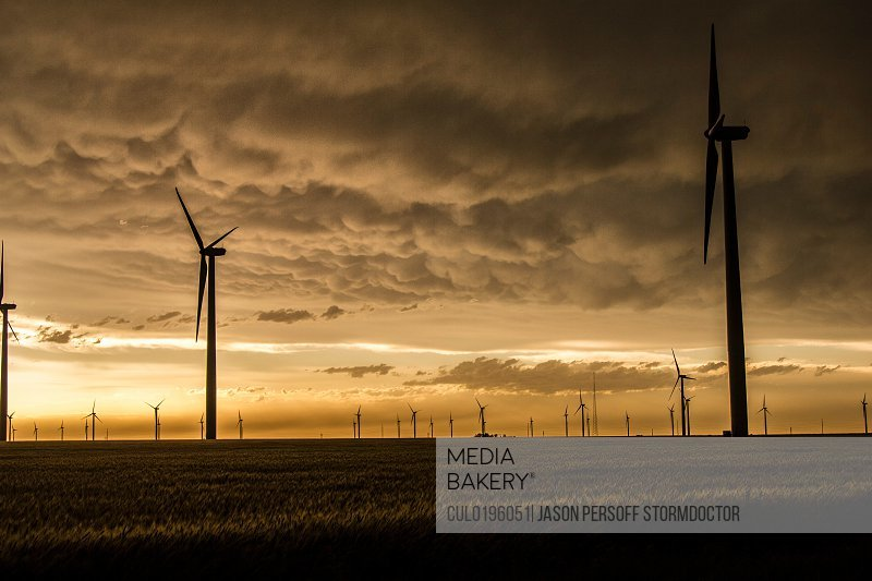Mammatus clouds and light over wind farm in rural Kansas