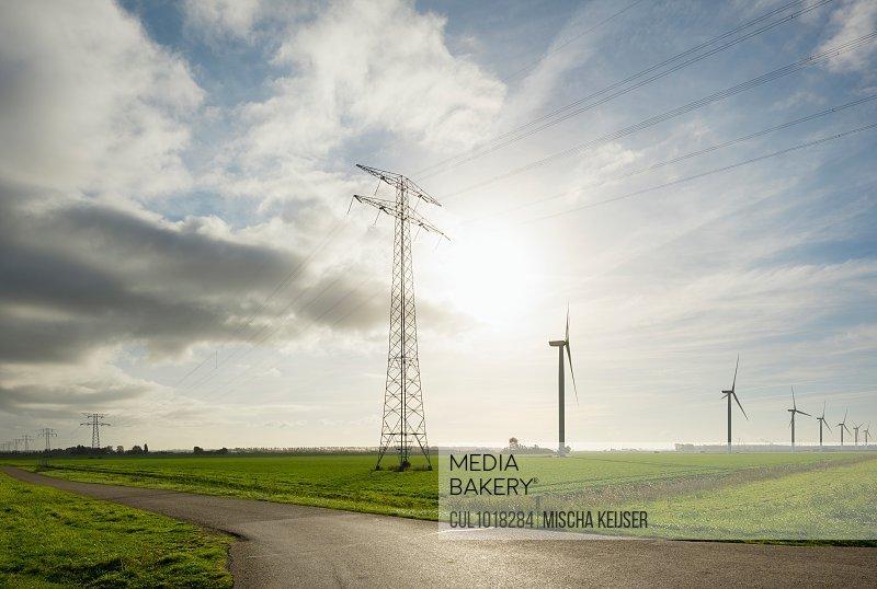 Wind turbines early in the morning, Rilland, Zeeland, Netherlands, Europe
