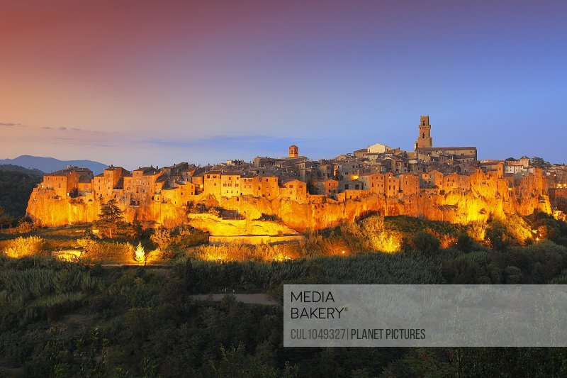 Tuscan landscape, Pitigliano medieval village at sunset, Tuscany, Italy