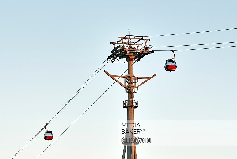 Cable cars against blue sky, Harbin, Heilongjiang, China