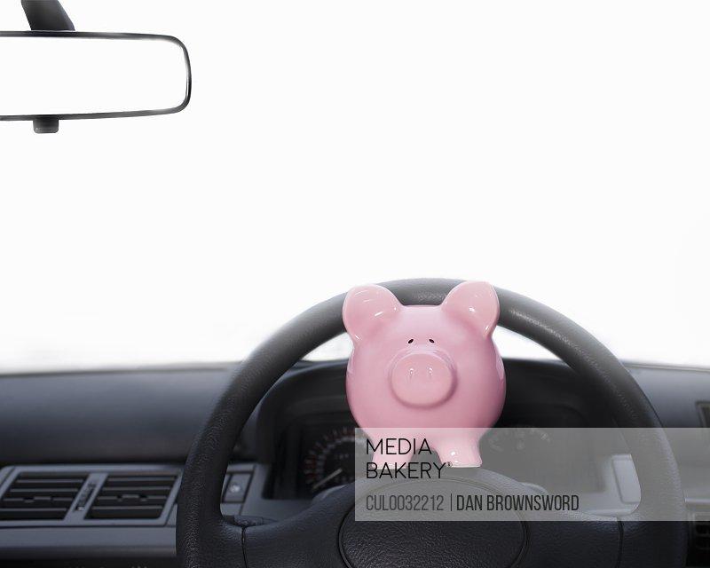 Piggy bank on dashboard