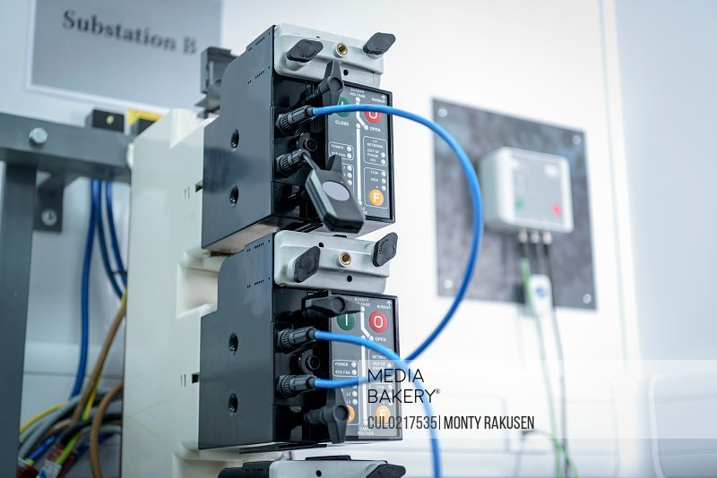 Electricity substation components in laboratory close up