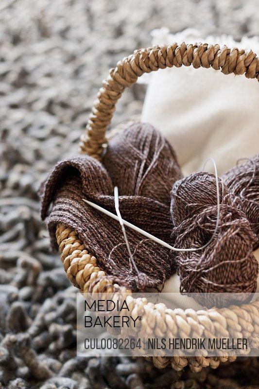 Close up of yarn in knitting basket