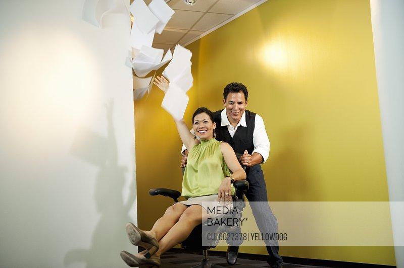 Office workers having fun
