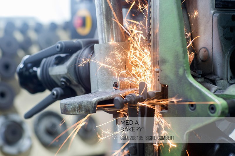 Sparks on grinding machine