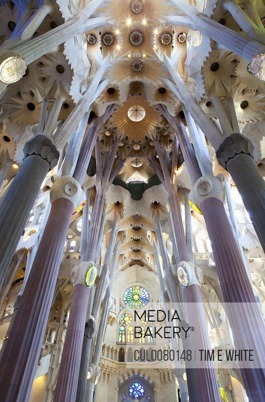 Interior of Sagrada Familia building