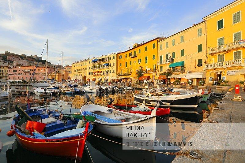Fishermens boats, Portoferraio village, Isle of Elba, Maremma, Tuscany, Italy