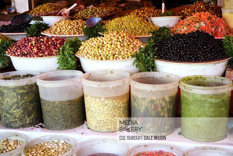 Fresh food for sale in Moroccan market