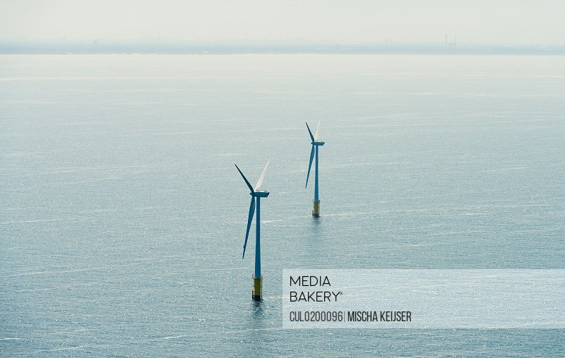 Aerial shot of an offshore wind farm off the Dutch coast IJmuiden North Holland Netherlands