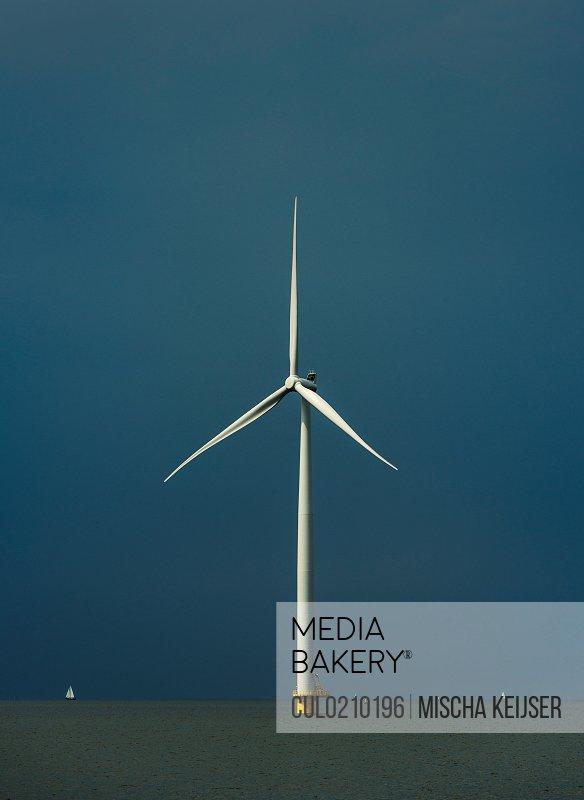 Offshore wind turbine, IJsselmeer lake, Espel, Flevopolder, Netherlands