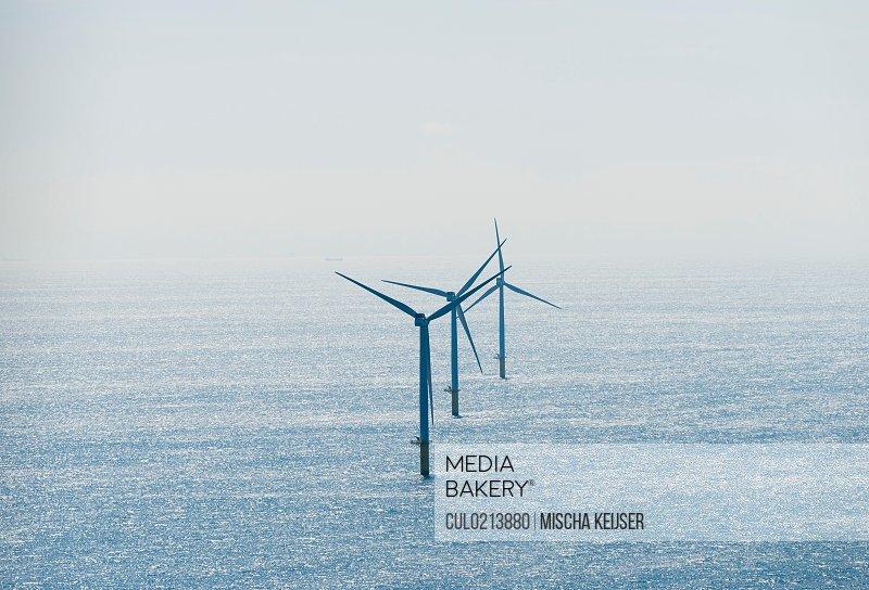 Wind turbines at Dutch offshore wind farm IJmuiden Netherlands