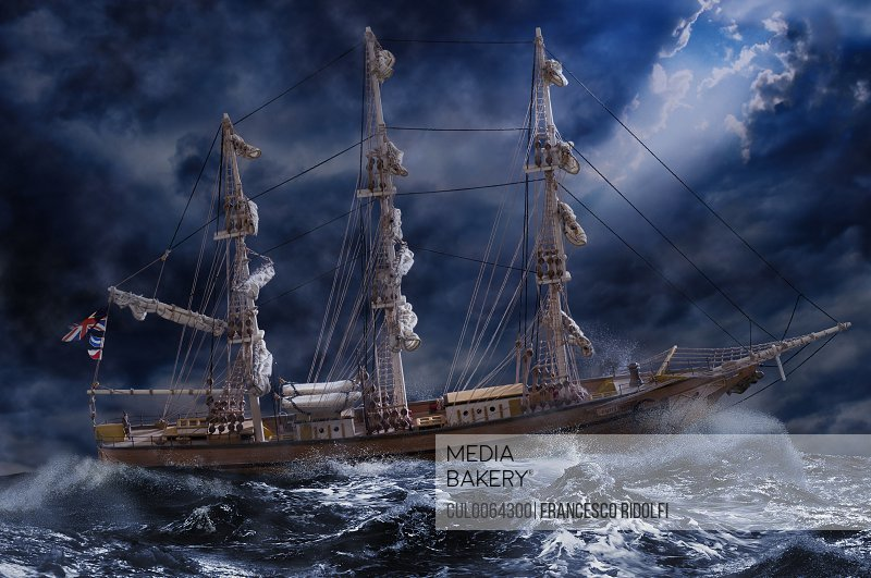 Ornate ship on stormy ocean