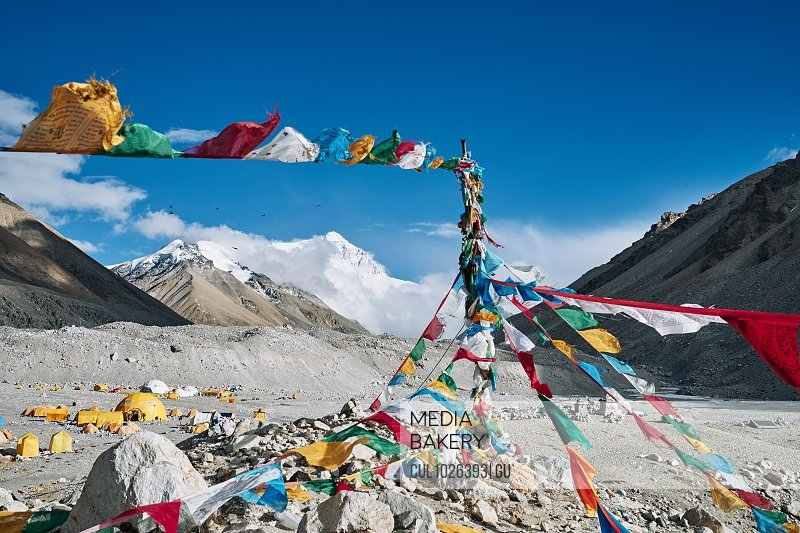 Mantra flags, Everest base camp, Tingri, Xizang, China