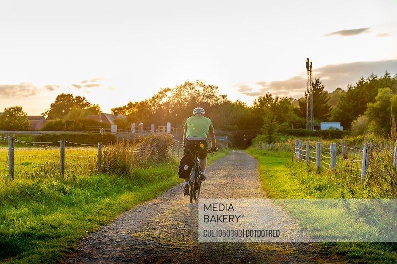 Man mountain biking on rural path, rear view