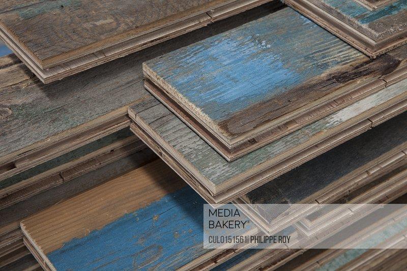 Stacks of treated wood flooring in factory Jiangsu China