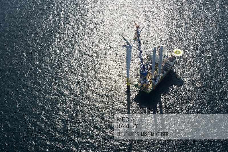 Aerial view of wind farm being constructed in the North Sea near Zeeland, The Netherlands.