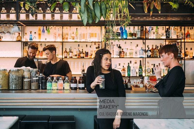 Portrait of two young women sitting at a bar counter and two young men, working behind bar.