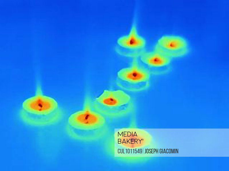 Thermal image of candles burning