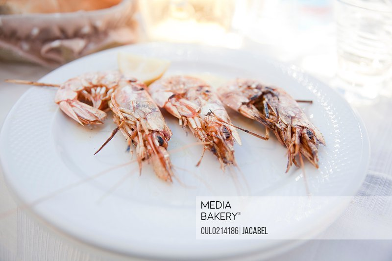 Plate of grilled prawns