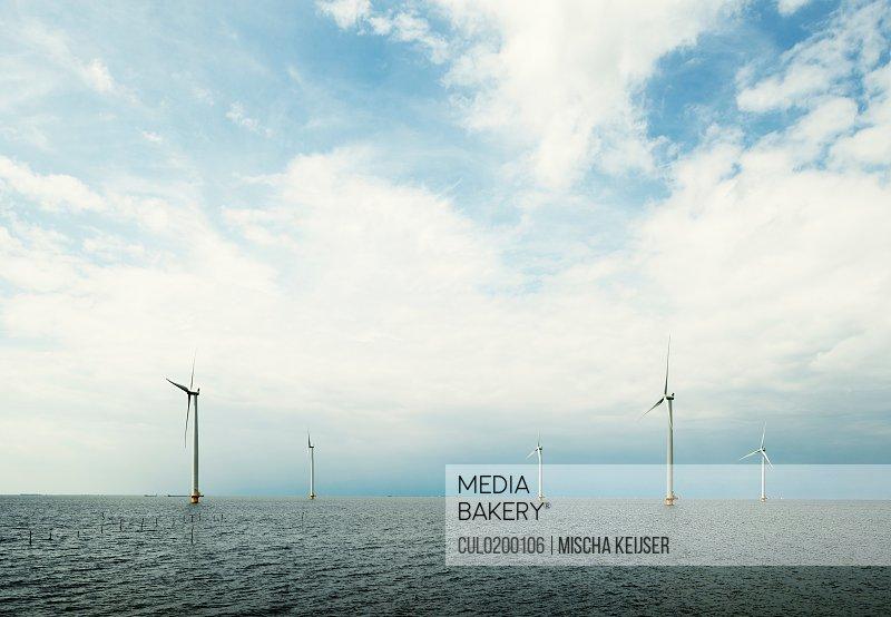Offshore wind farm IJsselmeer lake Espel Flevopolder Netherlands