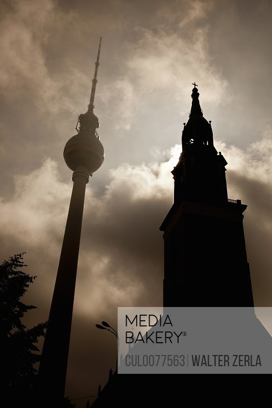 Silhouette of clock towers