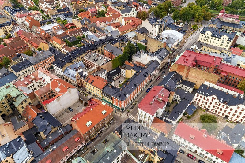 Aerial view of the colourful centre of Lund City, Malmoe in Sweden.