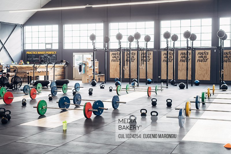 Weight lifting equipment in gym