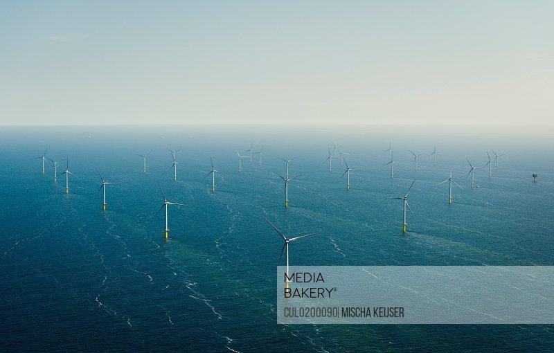 Aerial shot of an offshore wind farm off the Dutch coast IJmuiden North Holland Netherlands