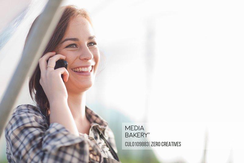 Female worker on cellphone